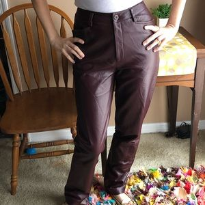 Vintage dark burgundy/ brown leather pants